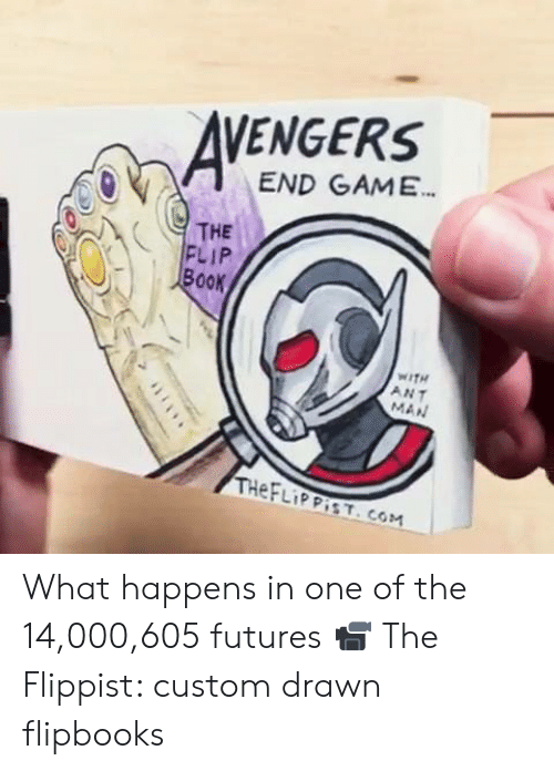 Dank, Book, and Game: VENGERS  END GAME  THE  FLIP  Book  WITH  ANT  MAN What happens in one of the 14,000,605 futures  📹 The Flippist: custom drawn flipbooks
