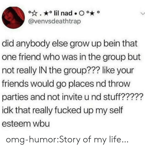Friends, Life, and Omg: @venvsdeathtrap  did anybody else grow up bein that  one friend who was in the group but  not really IN the group??? like your  friends would go places nd throw  parties and not invite u nd stuff?????  idk that really fucked up my self  esteem wbu omg-humor:Story of my life…