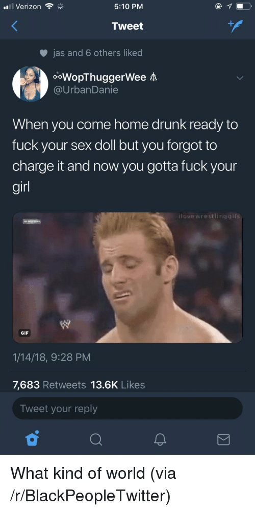 jas: Verizon  5:10 PM  Tweet  jas and 6 others liked  ooWopThuggerWee A  @UrbanDanie  When you come home drunk ready to  fuck your sex doll but you forgot to  charge it and now you gotta fuck your  gir  ilovewrestlingaifs  GIF  1/14/18, 9:28 PM  7,683 Retweets 13.6K Likes  Tweet your reply <p>What kind of world (via /r/BlackPeopleTwitter)</p>