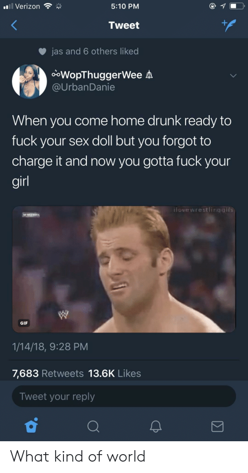 jas: Verizon  5:10 PM  Tweet  jas and 6 others liked  ooWopThuggerWee A  @UrbanDanie  When you come home drunk ready to  fuck your sex doll but you forgot to  charge it and now you gotta fuck your  gir  ilovewrestlingaifs  GIF  1/14/18, 9:28 PM  7,683 Retweets 13.6K Likes  Tweet your reply What kind of world