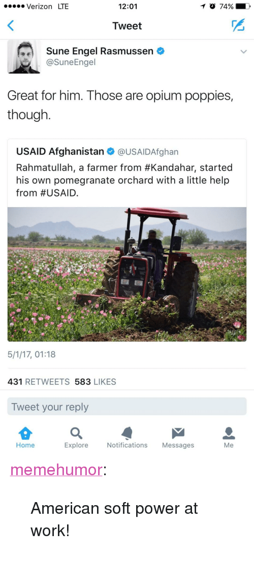 """Poppies: . Verizon LTE  12:01  Tweet  Sune Engel Rasmussen  @SuneEngel  Great for him. Those are opium poppies,  though  USAID Afghanistan @USAIDAfghan  Rahmatullah, a farmer from #Kandahar, started  his own pomegranate orchard with a little help  from #USAID.  5/1/17, 01:18  431 RETWEETS 583 LIKES  Tweet your reply  Home  Explore  Notifications Messages  Me <p><a href=""""http://memehumor.net/post/160198774293/american-soft-power-at-work"""" class=""""tumblr_blog"""">memehumor</a>:</p>  <blockquote><p>American soft power at work!</p></blockquote>"""