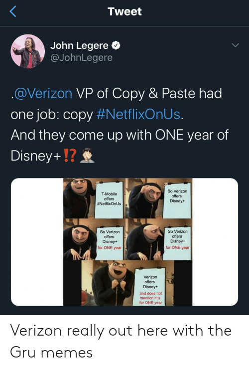 Verizon: Verizon really out here with the Gru memes