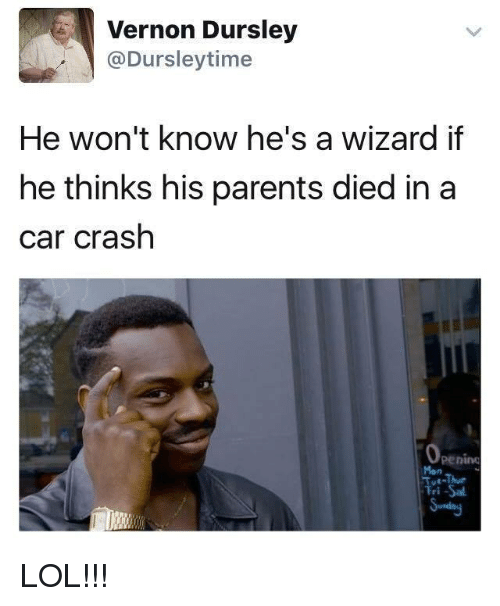 Car Crashing: Vernon Dursley  Ca Dursley time  He won't know he's a wizard if  he thinks his parents died in a  car crash  Penino  iTri LOL!!!