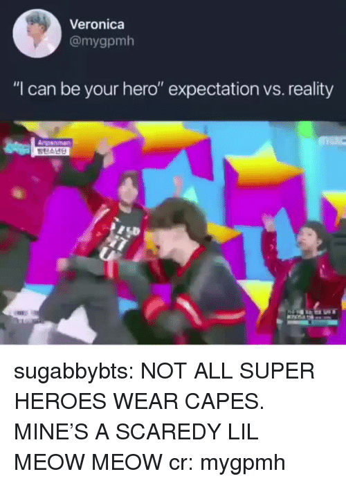 "Tumblr, Blog, and Heroes: Veronica  @mygpmh  ""I can be your hero"" expectation vs. reality  Anpanman sugabbybts: NOT ALL SUPER HEROES WEAR CAPES. MINE'S A SCAREDY LIL MEOW MEOW cr: mygpmh"