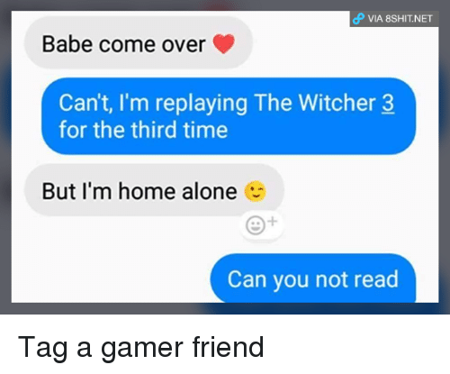 Witchers: VIA 8SHIT.NET  Babe come over  Can't, I'm replaying The Witcher 3  for the third time  But I'm home alone  Can you not read Tag a gamer friend