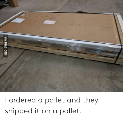 pallet: VIA 9GAG.COM I ordered a pallet and they shipped it on a pallet.