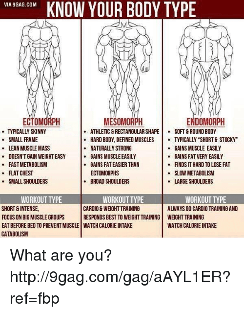 "Flat Chests: VIA 9GAG.COM  KNOW YOUR BODY TYPE  ECTO  ENDOMORPH  MESOMORPH  ATHLETIC &RECTANGULAR SHAPE SOFT GROUND BODY  SMALL FRAME  HARD BODY, DEFINED MUSCLES  TYPICALLY SHORT & STOCKY""  GAINS MUSCLE EASILY  LEAN MUSCLE MASS  NATURALLY STRONG  DOESN'T GAIN WEIGHT EASY  GAINS MUSCLEEASILY  GAINS FAT VERY EASILY  FASTMETABOLISM  GAINS FAT EASIER THAN  FINDSITHARD TO LOSE FAT  FLAT CHEST  ECTOMORPHS  SLOW METABOLISM  LARGE SHOULDERS  SMALL SHOULDERS  BROAD SHOULDERS  WORKOUT TYPE  WORKOUT TYPE  WORKOUT TYPE  SHORT INTENSE,  CARDIO WEIGHT TRAINING  ALWAYS DO CARDIO TRAINING AND  FOCUS ON BIGMUSCLE GROUPS  RESPONDS BEST TO WEIGHT TRAINING WEIGHT TRAINING  WATCHCALORIE INTAKE  EATBEFORE BED TO PREVENT MUSCLE WATCHCALORIE INTAKE  CATABOUSM What are you? http://9gag.com/gag/aAYL1ER?ref=fbp"