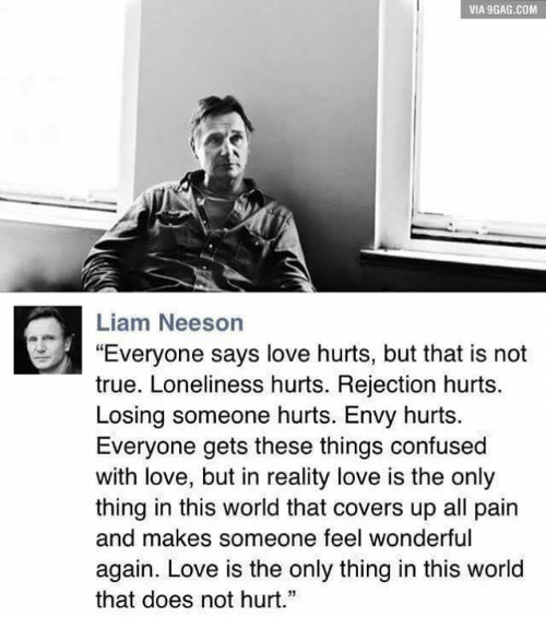 "9gag, Confused, and Doe: VIA 9GAG.COM  Liam Neeson  ""Everyone says love hurts, but that is not  true. Loneliness hurts. Rejection hurts.  Losing someone hurts. Envy hurts.  Everyone gets these things confused  with love, but in reality love is the only  thing in this world that covers up all pain  and makes someone feel wonderful  again. Love is the only thing in this world  that does not hurt."""