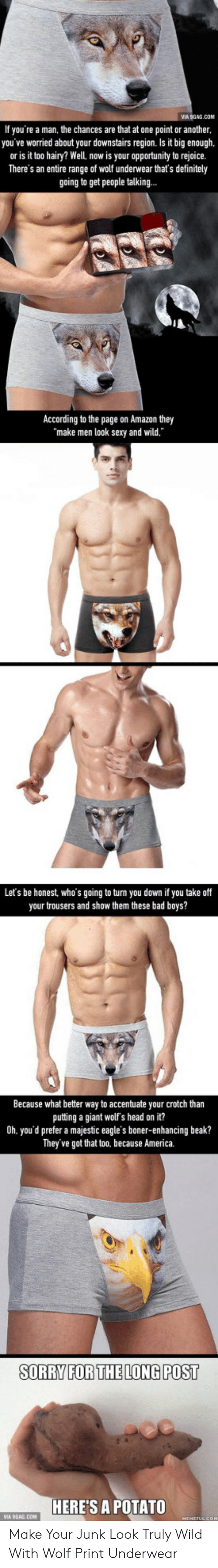 Because America: VIA 9GAG.CON  If you're a man, the chances are that at one point or another  you've worried about your downstairs region. Is it big enough,  or is it too hairy? Well, now is your opportunity to rejoice.  There's an entire range of wolf underwear that's definitely  going to get people talking...  According to the page on Amazon they  make men look sexy and wild.  Let's be honest, who's going to turn you down if you take off  your trousers and show them these bad boys?  Because what better way to accentuate your crotch than  putting a giant wolf's head on it?  0h. you'd prefer a majestic eagle's boner-enhancing beak?  They've got that too. because America.  SORRY FORTHELONG POST  HERE'S A POTATO Make Your Junk Look Truly Wild With Wolf Print Underwear