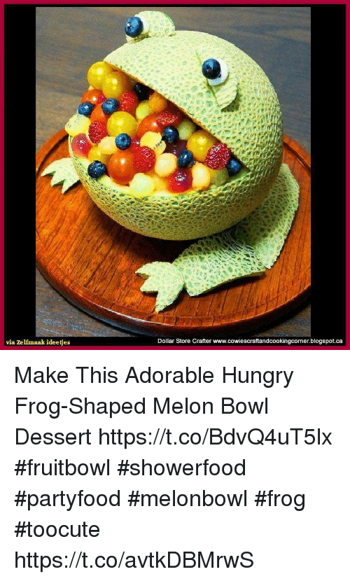 Hungryness: via zelfmaak ideetjes  Dollar Store Crafter www.cowiescraftandcookingcornerblogspot.ca Make This Adorable Hungry Frog-Shaped Melon Bowl Dessert https://t.co/BdvQ4uT5lx #fruitbowl #showerfood #partyfood #melonbowl #frog #toocute https://t.co/avtkDBMrwS
