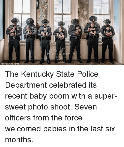 Memes, Police, and Kentucky: Vicky Puckett via Storyful The Kentucky State Police Department celebrated its recent baby boom with a super-sweet photo shoot. Seven officers from the force welcomed babies in the last six months.