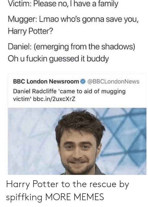 the shadows: Victim: Please no, I have a family  Mugger: Lmao who's gonna save you,  Harry Potter?  Daniel: (emerging from the shadows)  Oh u fuckin guessed it buddy  BBC London Newsroom@BBCLondonNews  Daniel Radcliffe 'came to aid of mugging  victim' bbc.in/2uxcXrZ Harry Potter to the rescue by spiffking MORE MEMES