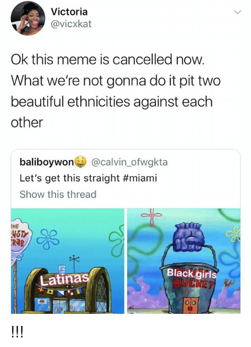 rab: Victoria  @vicxkat  Ok this meme is cancelled now.  What we're not gonna do it pit two  beautiful ethnicities against each  other  baliboywon@calvin_ofwgkta  Let's get this straight #miami  Show this thread  THE  YSTY  RAB  Blackgirls  Latinas !!!