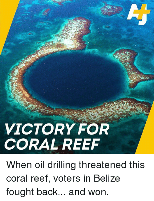 drilling: VICTORY FOR  CORAL REEF When oil drilling threatened this coral reef, voters in Belize fought back... and won.