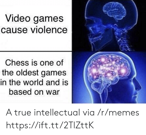 intellectual: Video games  cause violence  Chess is one of  the oldest games  in the world and is  based on war A true intellectual via /r/memes https://ift.tt/2TlZttK