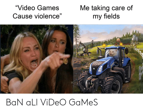 """Fields: """"Video Games  Me taking care of  my fields  Cause violence""""  7 BaN aLl ViDeO GaMeS"""