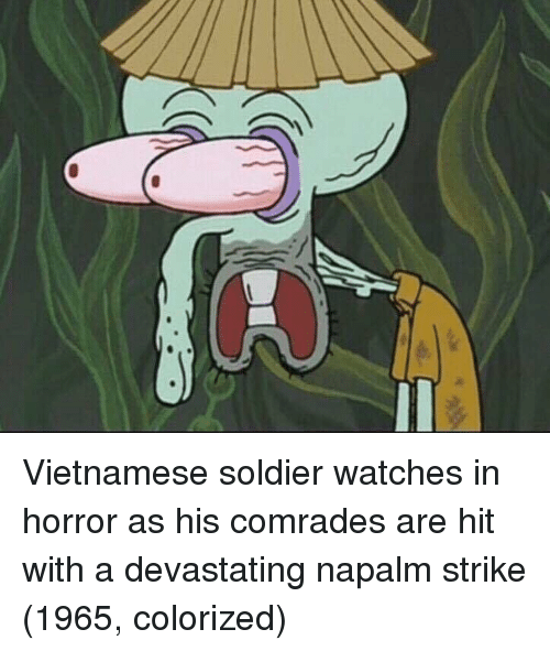 Vietnamese: Vietnamese soldier watches in horror as his comrades are hit with a devastating napalm strike (1965, colorized)