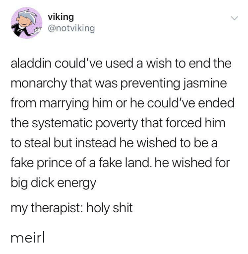 jasmine: viking  @notviking  aladdin could've used a wish to end the  monarchy that was preventing jasmine  from marrying him or he could've ended  the systematic poverty that forced him  to steal but instead he wished to be a  fake prince of a fake land. he wished for  big dick energy  my therapist: holy shit meirl