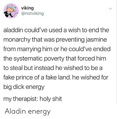 jasmine: viking  @notviking  aladdin could've used a wish to end the  monarchy that was preventing jasmine  from marrying him or he could've ended  the systematic poverty that forced him  to steal but instead he wished to be a  fake prince of a fake land. he wished for  big dick energy  my therapist: holy shit Aladin energy