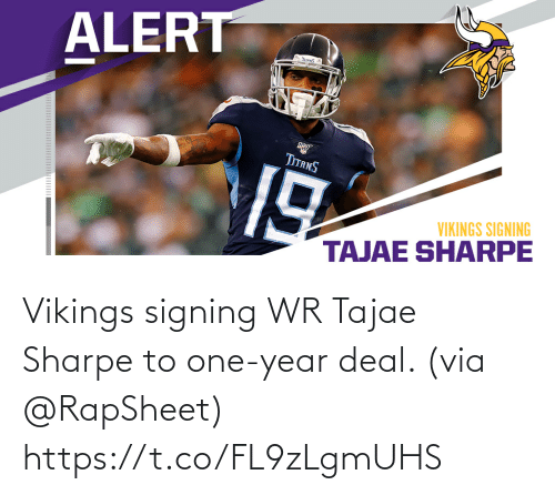 Memes, Vikings, and 🤖: Vikings signing WR Tajae Sharpe to one-year deal. (via @RapSheet) https://t.co/FL9zLgmUHS