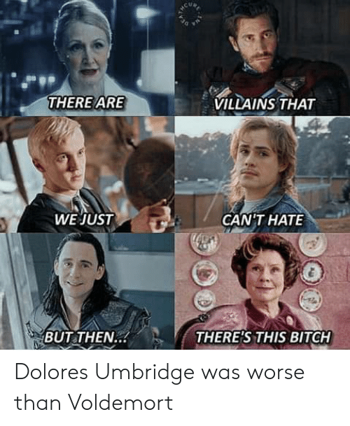 Bitch, Dolores Umbridge, and Villains: VILLAINS THAT  THERE ARE  WE JUST  GANTHAΤΕ  THERE'S THIS BITCH  BUT THEN.. Dolores Umbridge was worse than Voldemort