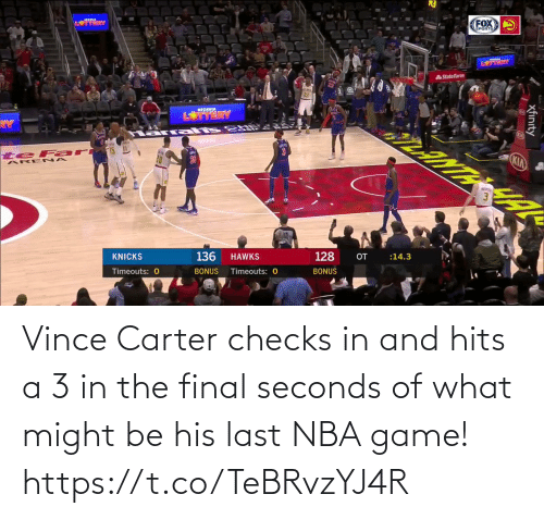 Checks: Vince Carter checks in and hits a 3 in the final seconds of what might be his last NBA game!   https://t.co/TeBRvzYJ4R