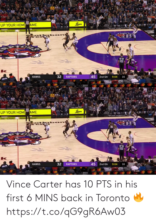 Mins: Vince Carter has 10 PTS in his first 6 MINS back in Toronto 🔥  https://t.co/qG9gR6Aw03