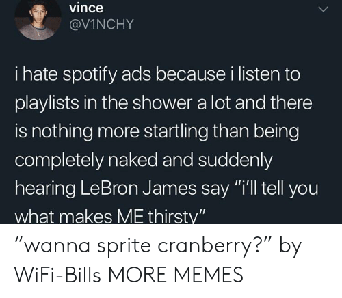 """Dank, LeBron James, and Memes: vince  @VİNCHY  i hate spotify ads because i listen to  playlists in the shower a lot and there  is nothing more startling than being  completely naked and suddenly  hearing LeBron James say """"i'll tell you  what makes ME thirsty"""" """"wanna sprite cranberry?"""" by WiFi-Bills MORE MEMES"""