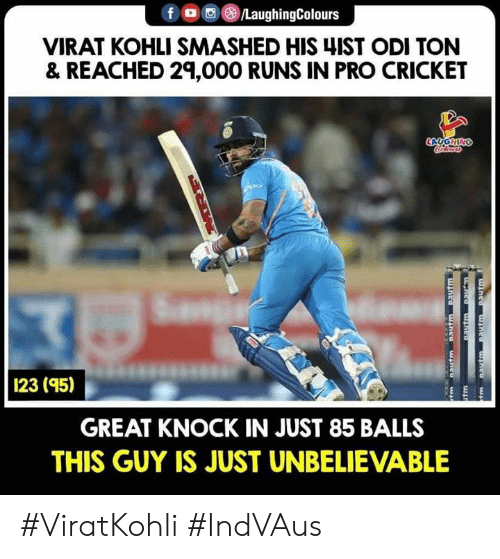 Viratkohli: VIRAT KOHLI SMASHED HIS 4IST ODI TON  & REACHED 29,000 RUNS IN PRO CRICKET  1  23 (95)  GREAT KNOCK IN JUST 85 BALLS  THIS GUY IS JUST UNBELIEVABLE #ViratKohli #IndVAus
