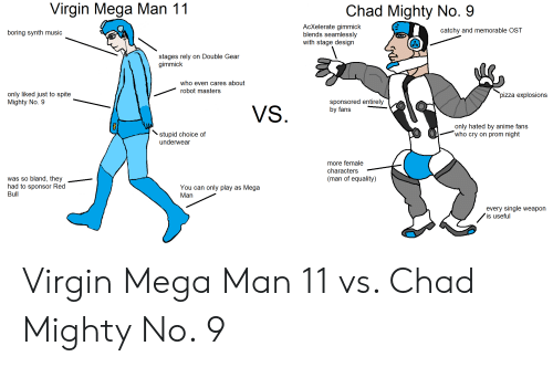 "Anime, Music, and Pizza: Virgin Mega Man 11  Chad Mighty No. 9  AcXelerate gimmick  blends seamlessly  with stage design  catchy and memorable OST  boring synth music  stages rely on Double Gear  gimmick  who even cares about  robot masters  only liked just to spite  Mighty No. 9  ""pizza explosions  sponsored entirely  by fans  VS.  only hated by anime fans  who cry on prom night  stupid choice of  underwear  more female  characters  was so bland, they  had to sponsor Red  (man of equality)  You can only play as Mega  Bull  Man  every single weapon  is useful Virgin Mega Man 11 vs. Chad Mighty No. 9"