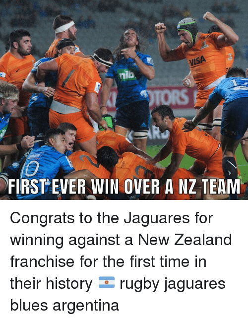 Jaguares: VISA  TORS  FIRSTEVER WIN OVER A NZ TEAM Congrats to the Jaguares for winning against a New Zealand franchise for the first time in their history 🇦🇷 rugby jaguares blues argentina