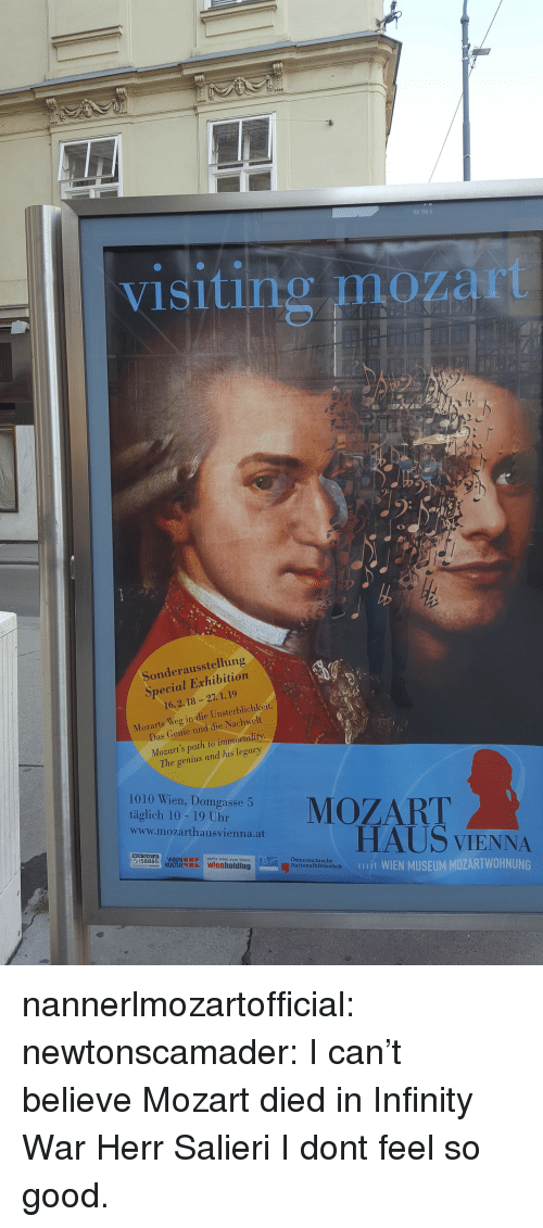 Tumblr, Blog, and Genius: visiting mozart  Sonderausstellung  Special Exhibition  16.2.18 -27. 1.19  Mozarts Weg in die Unsterblichkeit.  Das Conie und die Nachwelt  Mozart's path to immortality  The genius and his legacy  1010 Wien, Domgasse 5  tigaeh ae o uhareMOZART  www.mozarthausvienna.at  HAUS VIENNA  mjt WIEN MUSEUM MOZARTWOHNUNG  mehr wien zum leben  Österreichische  Nationalbibliothek nannerlmozartofficial: newtonscamader: I can't believe Mozart died in Infinity War Herr Salieri I dont feel so good.
