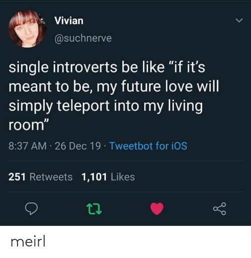 "Meant: Vivian  @suchnerve  single introverts be like ""if it's  meant to be, my future love will  simply teleport into my living  room""  8:37 AM 26 Dec 19 · Tweetbot for iOS  251 Retweets 1,101 Likes meirl"