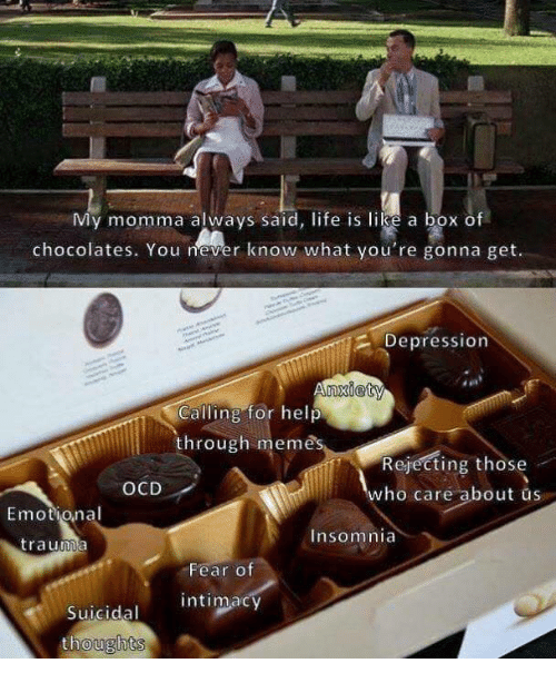 Meme, Depression, and Help: vly momma always said, fe is lhke a box of  chocolates. You never know what you're gonna get.  Depression  nxiety  Calling for help  hrough meme  Rejecting those  who caré about us  OCD  Emotional  Insomnia  trauma  Fear o  intimacy  Suicidal  栽