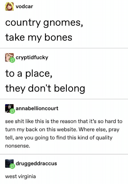 Virginia: vodcar  country gnomes,  take my bones  cryptidfucky  to a place,  they don't belong  annabellioncourt  see shit like this is the reason that it's so hard to  turn my back on this website. Where else, pray  tell, are you going to find this kind of quality  nonsense.  druggeddraccus  west virginia