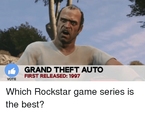 rockstar gaming: VOTE  GRAND THEFT AUTO  FIRST RELEASED: 1997 Which Rockstar game series is the best?