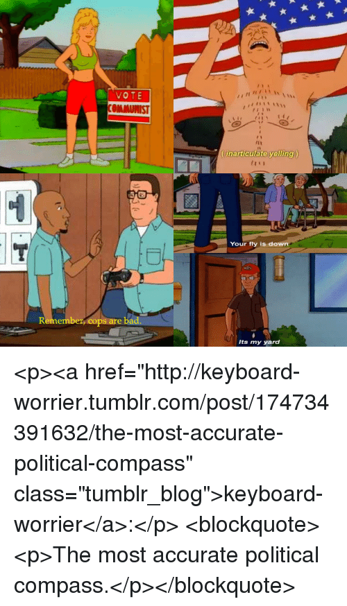 """Tumblr, Blog, and Http: VOTE  Itin  (inarticulate yelling)  Your fly is down  to  Remember, cops are ba  Its my yard <p><a href=""""http://keyboard-worrier.tumblr.com/post/174734391632/the-most-accurate-political-compass"""" class=""""tumblr_blog"""">keyboard-worrier</a>:</p> <blockquote><p>The most accurate political compass.</p></blockquote>"""