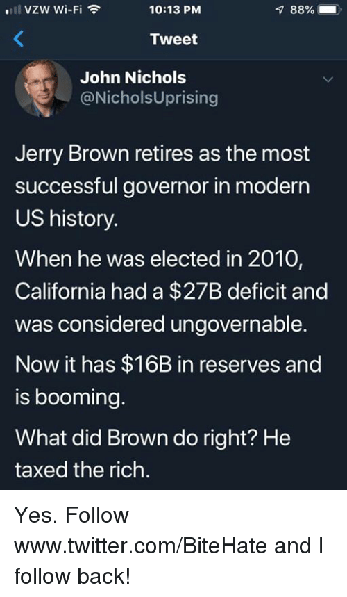 Twitter, California, and History: VZW Wi-Fi  10:13 PM  88%  ).  Tweet  John Nichols  @NicholsUprising  Jerry Brown retires as the most  successful governor in moderr  US history.  When he was elected in 2010,  California had a $27B deficit and  was considered ungovernable.  Now it has $16B in reserves and  is booming.  What did Brown do right? He  taxed the rich. Yes.  Follow www.twitter.com/BiteHate and I follow back!