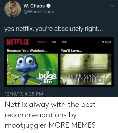 recommendations: W. Chaos  WhosChaos  yes netflix. you're absolutely right.  NETFLIX  Browne Kids  DVD  a Search  Because You Watched...  You'll Love...  By PIXAR  life  12/10/17, 4:25 PM Netflix alway with the best recommendations by mootjuggler MORE MEMES
