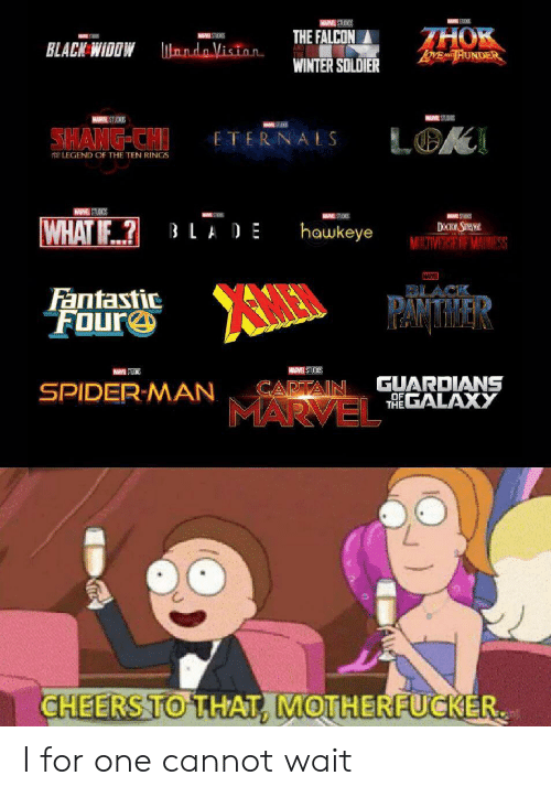 hawkeye: W STUDIOS  THOK  ToME AD HUNDER  THE FALCON  MAR STIEKS  ndo Viston  BLACK WIDDW  WINTER SOLDIER  MUM STUD  MARSTUCKS  6STE  SHANG-CH  LOK  ETERNALS  LEGEND OF THE TEN RINGS  HARME STUDIOS  S  WHAT IF?  DOCOR STHANGE  MINITIVERSE OF MAINESS  LADE  hawkeye  MARVER  Fantastic  FOure  PAMTMAER  MARVEL STUCKOS  GUARDIANS  THEGALAXY  CAPTAIN  SPIDER-MAN  OF  MARVEL  CHEERS TO THAT, MOTHERFUCKER I for one cannot wait