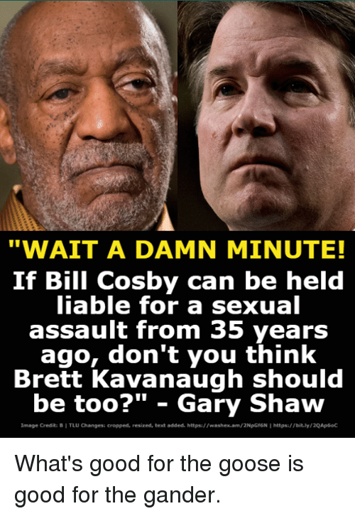 """a sexual: """"WAIT A DAMN MINUTE!  If Bill Cosby can be held  iable for a sexual  assault from 35 years  ago, don't you think  Brett Kavanaugh should  be too?"""" - Gary Shaw  Image Credita B I TLU Changesi cropped, resized, text added. https://washex.am/2NpGf6N I https:/bit.ly/2QAp6oC What's good for the goose is good for the gander."""