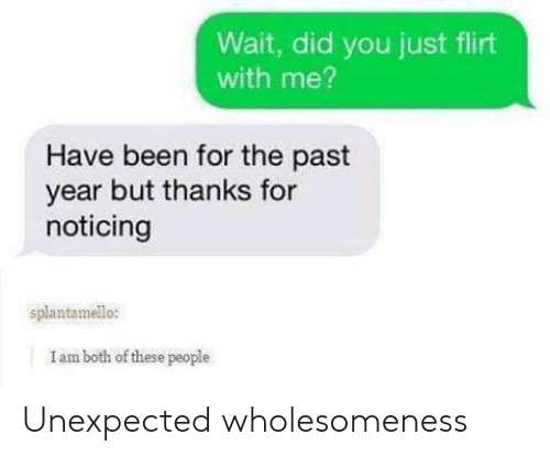 noticing: Wait, did you just flirt  with me?  Have been for the past  year but thanks for  noticing  splantamello:  I am both of these people Unexpected wholesomeness