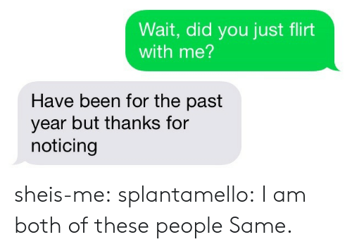 noticing: Wait, did you just flirt  with me?  Have been for the past  year but thanks for  noticing sheis-me:  splantamello: I am both of these people Same.