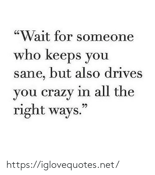 "Someone Who: ""Wait for someone  who keeps you  sane, but also drives  you crazy in all the  right ways.  99 https://iglovequotes.net/"
