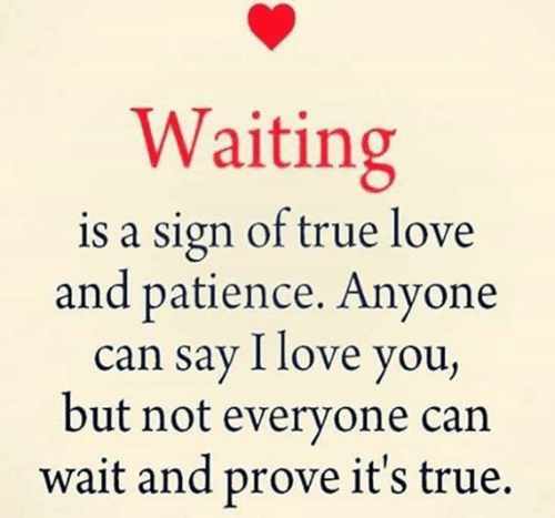 Patience: Waiting  is a sign of true love  and patience. Anyone  can say I love you,  but not everyone can  wait and prove it's true.