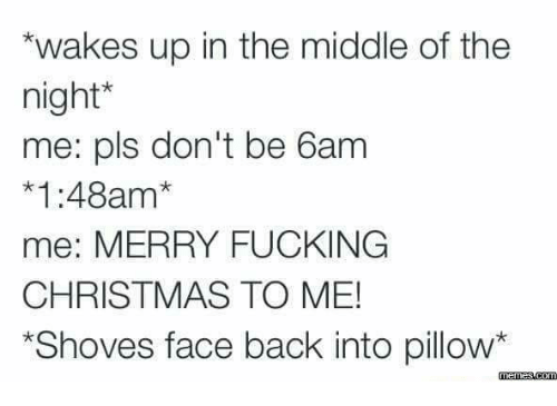 Christmas, Fucking, and Funny: wakes up in the middle of the  night  e: pls don't be 6am  *1:48am*  me: MERRY FUCKING  CHRISTMAS TO ME!  Shoves face back into pillow  memes.com