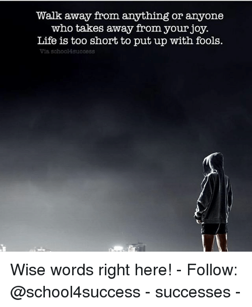 Life, Memes, and Too Short: Walk away from anything or anyone  who takes away from your joy.  Life is too short to put up with fools.  Via sohool4success Wise words right here! - Follow: @school4success - successes -