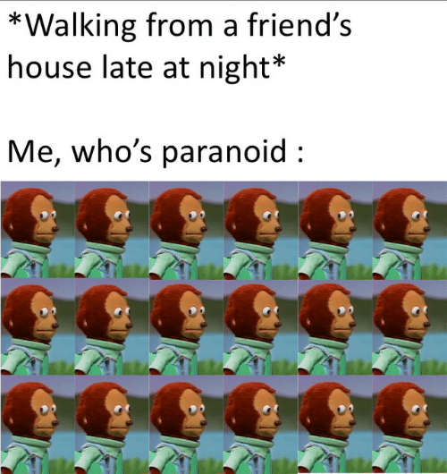 Friends House: *Walking from a friend's  house late at night*  Me, who's paranoid