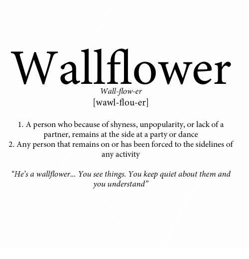 "sidelines: Wallflower  Wall-flow-er  [wawl-flou-er]  1. A person who because of shyness, unpopularity, or lack of a  partner, remains at the side at a party or dance  2. Any person that remains on or has been forced to the sidelines of  any activity  ""He's a wallflower... You see things. You keep quiet about them and  you understand"