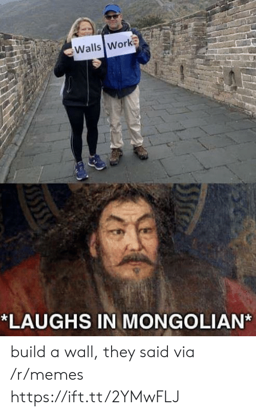 build a: Walls Work  *LAUGHS IN MONGOLIAN build a wall, they said via /r/memes https://ift.tt/2YMwFLJ